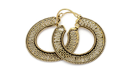 Brass Ethnic Meandering Hoops