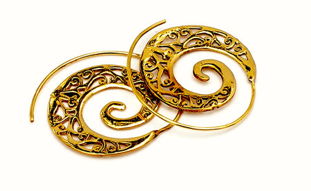 "Brass spiral earrings: ""Greenwood"""