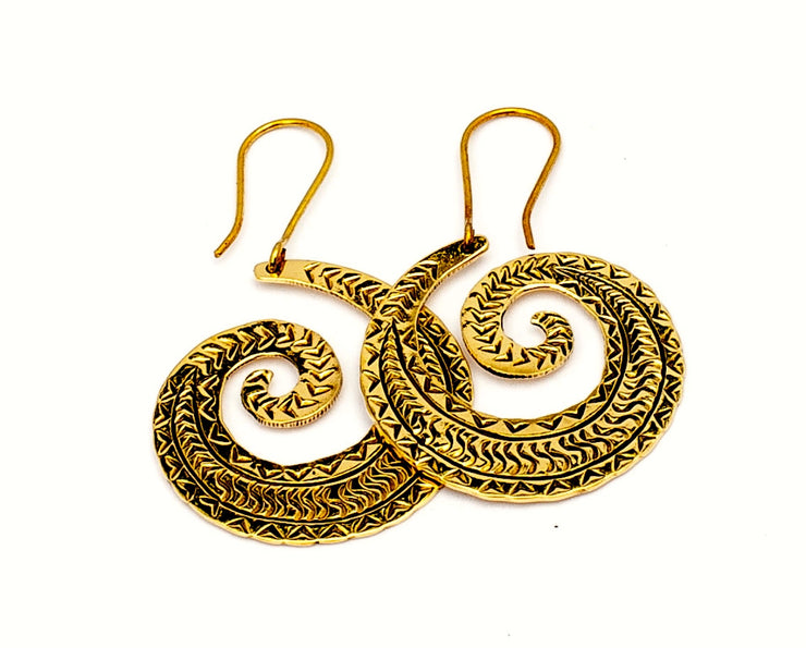 Tribal Spiral Wave Earrings