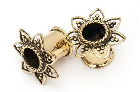 Ear Tunnel - Flower : 4mm - 12mm gauge