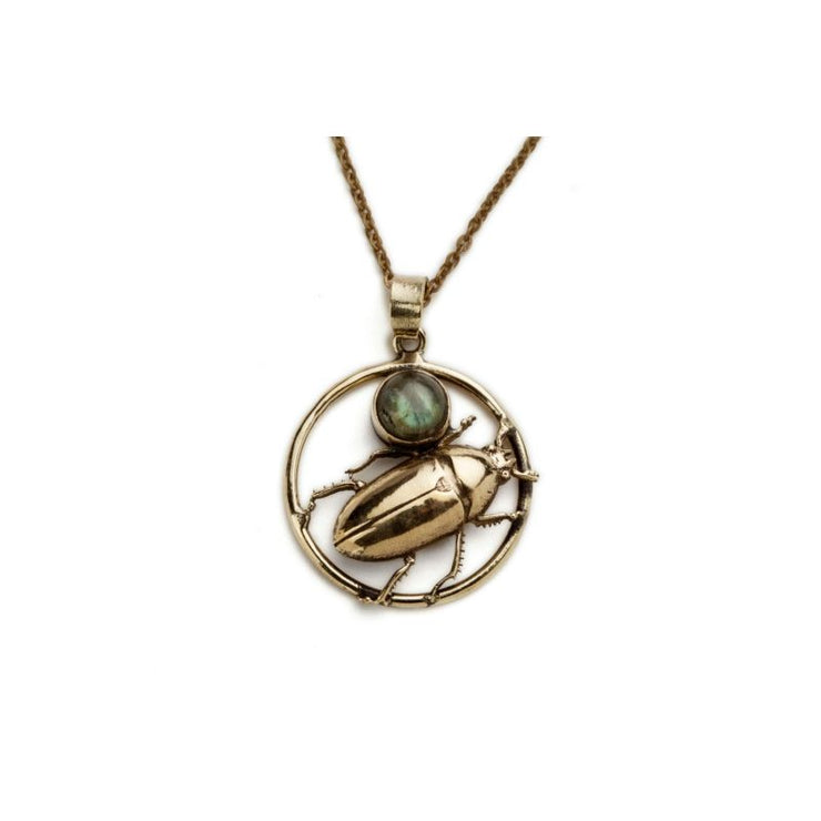 Encircled Beetle And Stone Pendant Foragedesign Jewelry / Necklaces Pendants