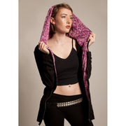 Hoody - Black With Pink Paisley Foragedesign Clothing / Women's Hoodies & Sweatshirts