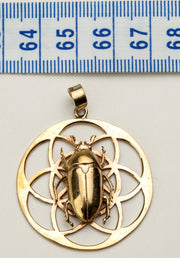 Flower of Life Pendant with June Beetle