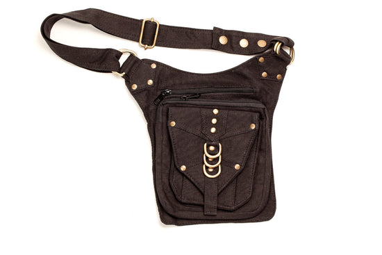 Canvas Hip Pouch with Studwork - Tank Belt