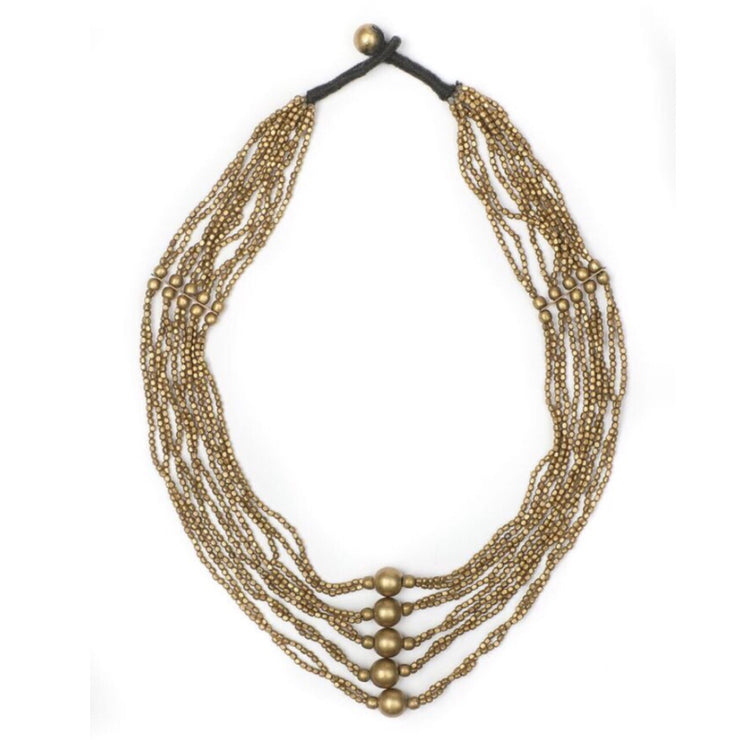 Beaded Brass Tribal Necklace - Aahna