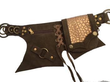 Leather Corset Pocket belt with gold pocket