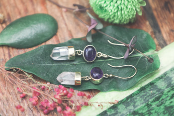Quartz and Amethyst Drop Earrings