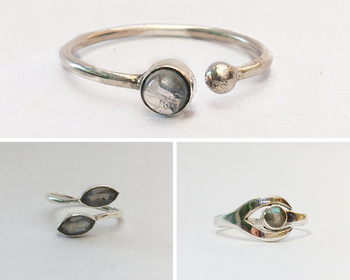 Stacking Silver & Labradorite Ring Set