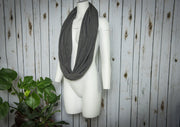 Knit Hoop Scarf-  Charcoal