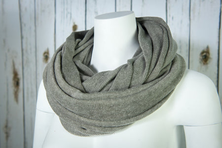 Knit Hoop Scarf- Smokey Grey
