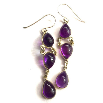 Silver & Amethyst Triple Drop Earrings Foragedesign Jewelry / Dangle