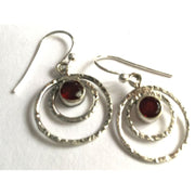 Silver And Garnet Earrings Foragedesign Jewelry /