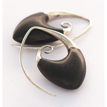 Silver And Wood Spirals - Oval Ii Foragedesign Jewelry / Earrings Hoop