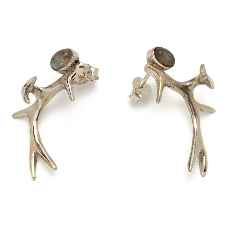 Silver Antler Earrings With Labradorite Foragedesign Jewelry / Stud