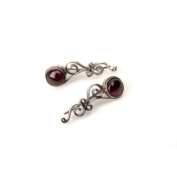Silver Climbing Stud With Garnet Foragedesign Jewelry / Earrings