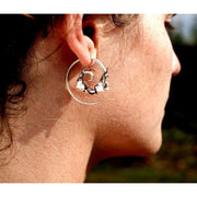Silver & Copper Entwining Ivy Spirals Foragedesign Jewelry / Earrings Hoop