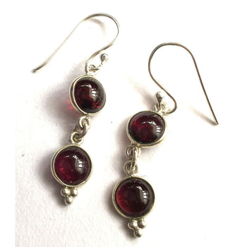 Silver & Garnet Double Drop Earrings Foragedesign Jewelry / Dangle