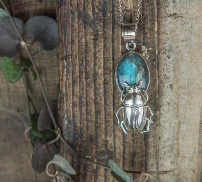 Silver June Beetle & Labradorite Pendant Foragedesign Jewelry / Necklaces Pendants