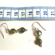 Silver & Labradorite Double Drop Earrings Foragedesign Jewelry /