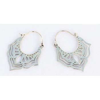 Silver Lotus Hoops Foragedesign Jewelry / Earrings Hoop