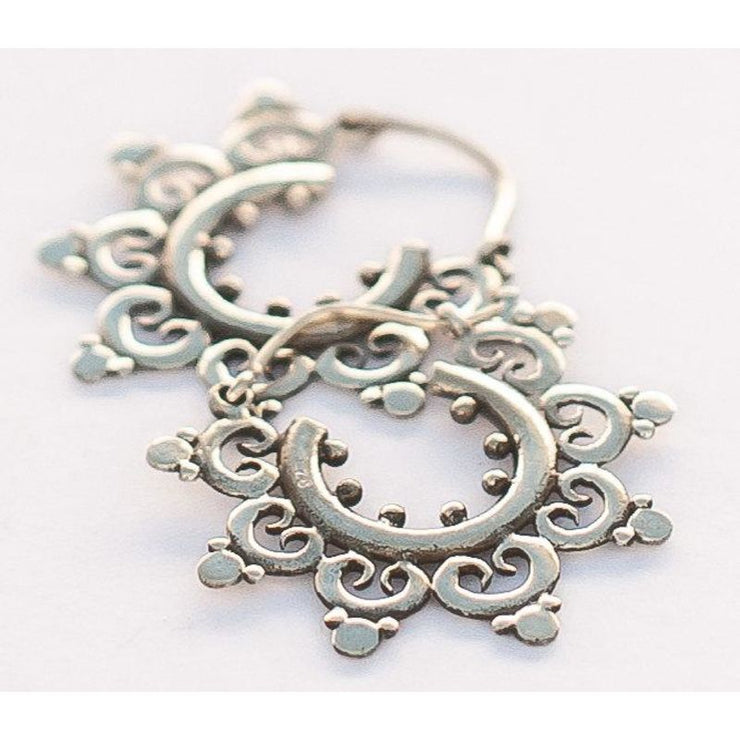 Silver Temple Flower Hoops Foragedesign Jewelry / Earrings Hoop