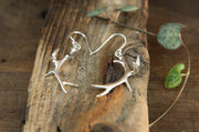 Silver Antler Drop Earrings