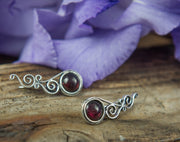 Silver Climbing Stud with Garnet