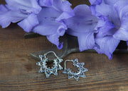 Silver Temple Flower Hoops