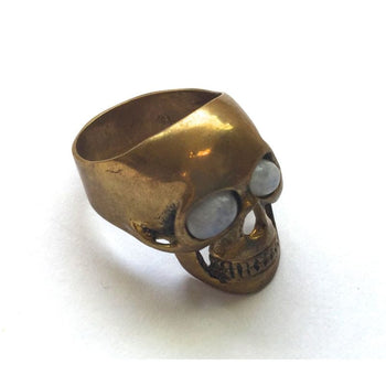 Skull Ring With Moonstone Eyes Foragedesign Jewelry / Rings Statement