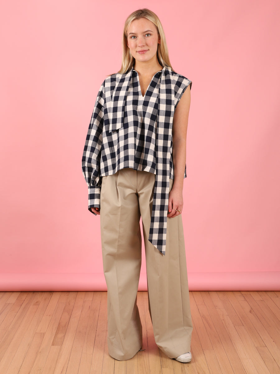 One Shoulder Kelly Shirt in Check