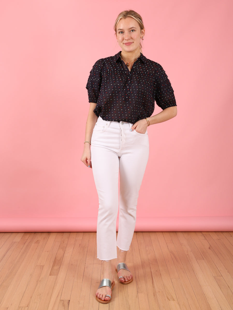Embroidered Dot Mare Top