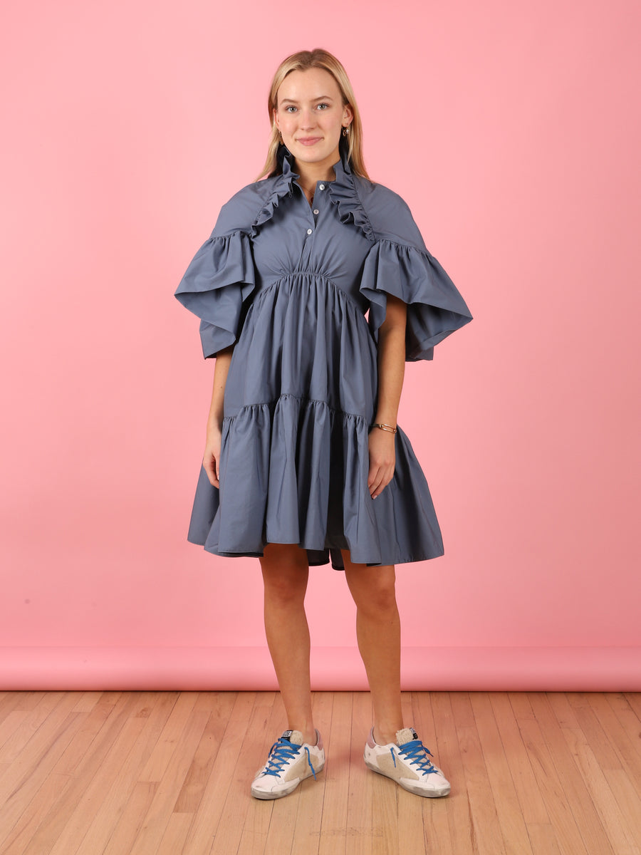Night Blue Ruffle Dress