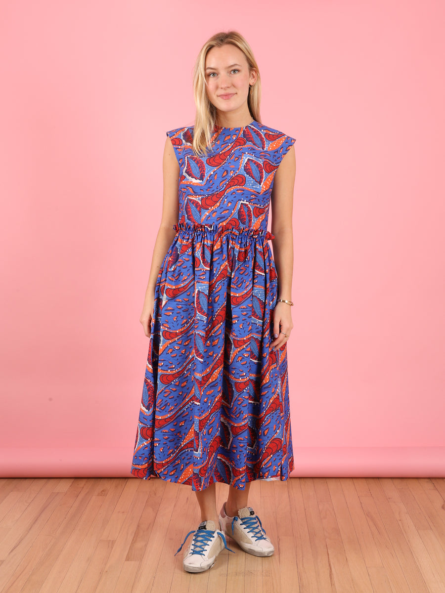 Printed Royal Blue Dress