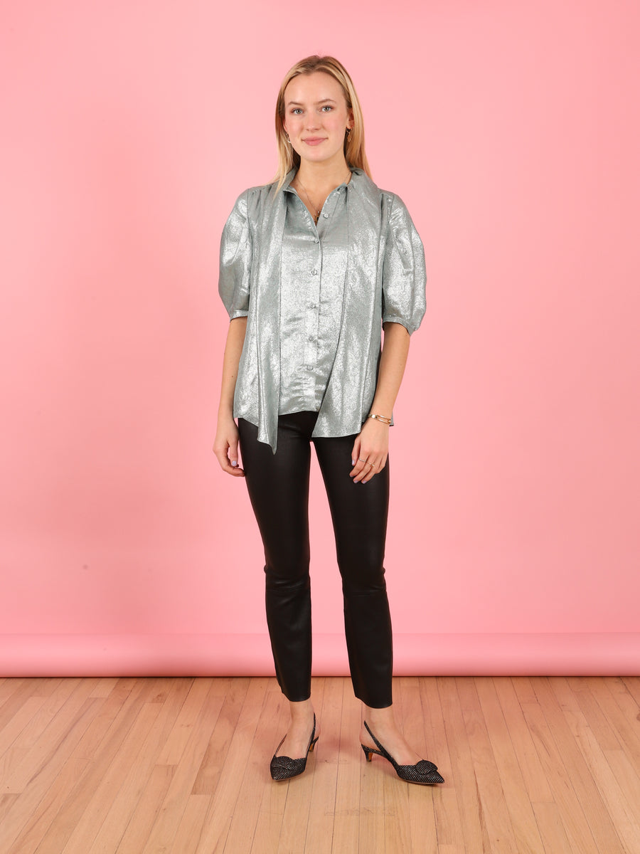 Mint & Silver Half Sleeve Blouse