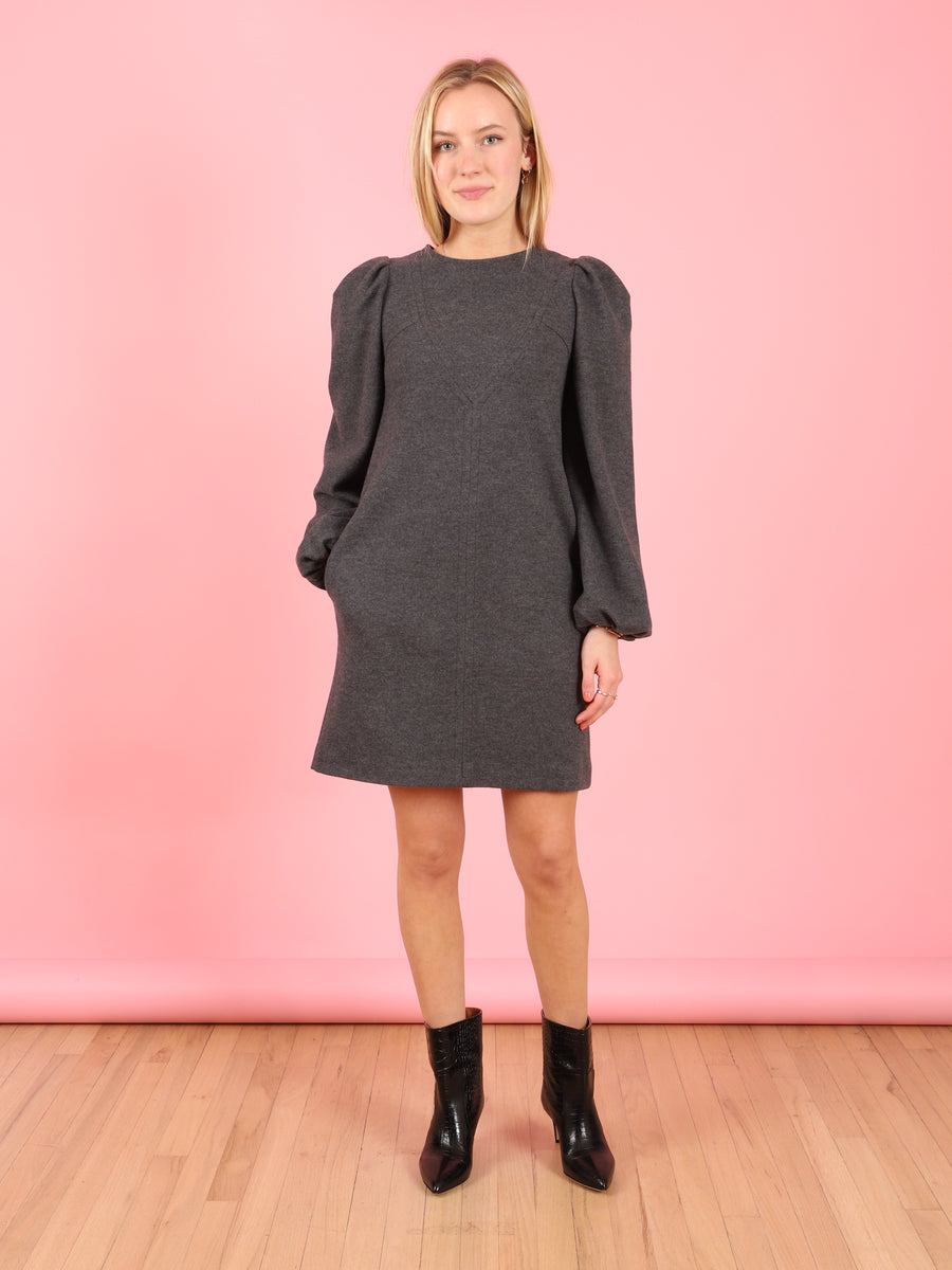 Puff Sleeve Dress in Granite