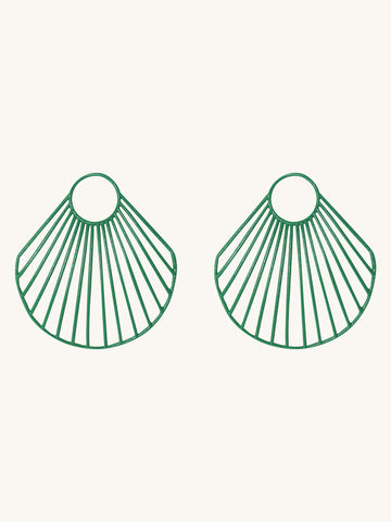 Green Large Clam Shell Earrings
