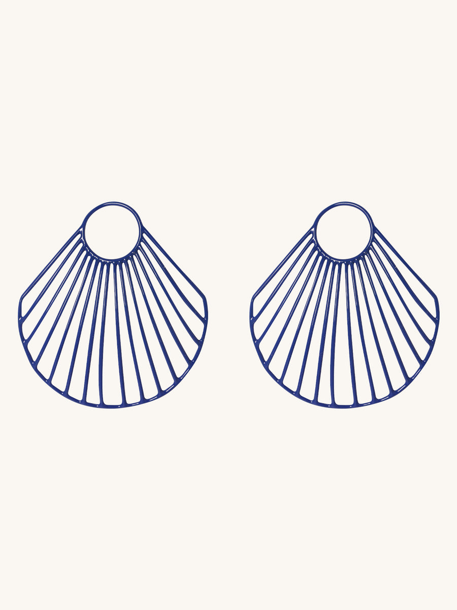 Blue Large Clam Shell Earrings