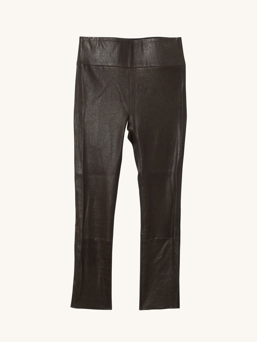 Army 3/4 Capri Leather Legging
