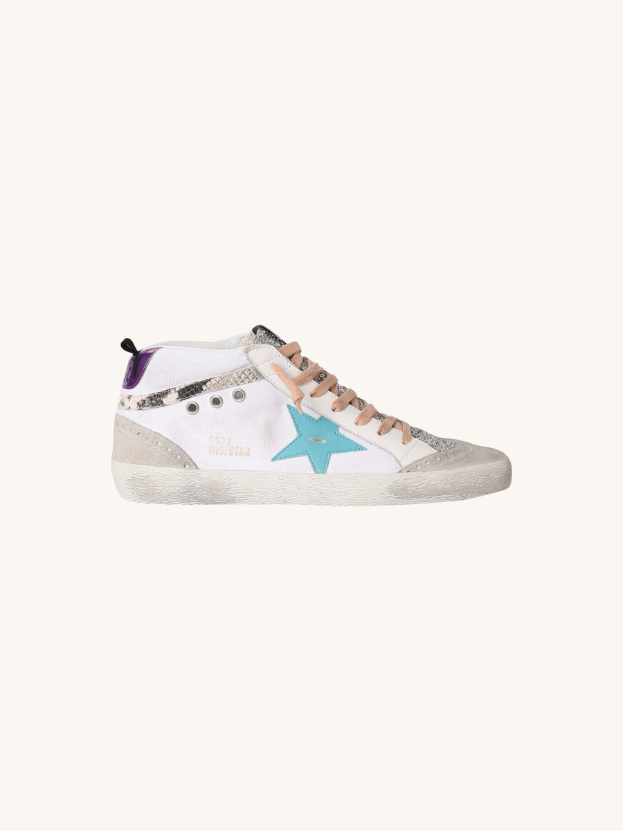 Mid Star Sneaker in White with Turquoise Star