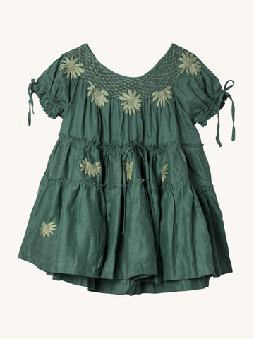 Green Mini Smock Collar Dress