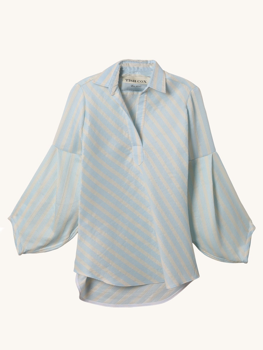 Heavy Stripe Allison Top in Light Blue