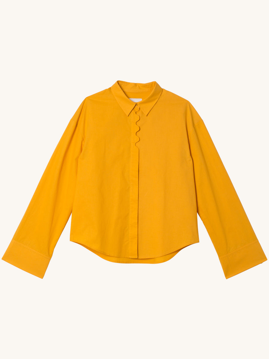 Longsleeve Cotton Blouse in Yellow