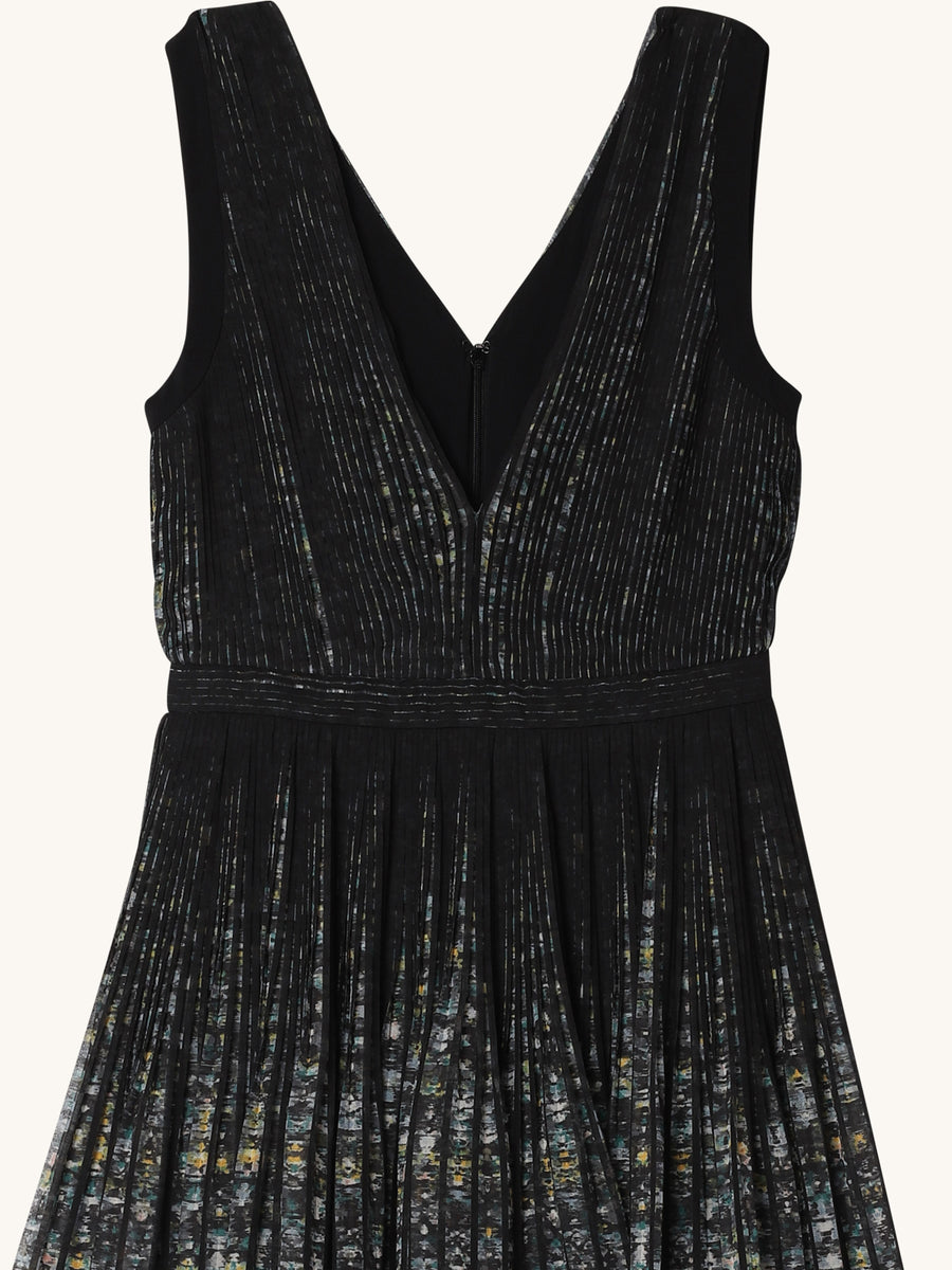 Pleated Fondo Nero and Stampa Dress