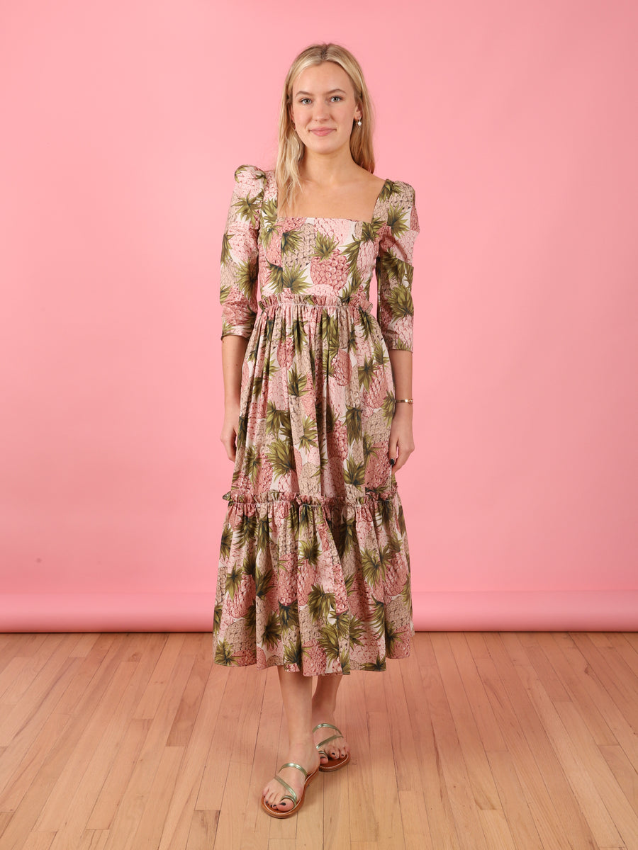 Pineapple Print Blue Hill Dress in Pink