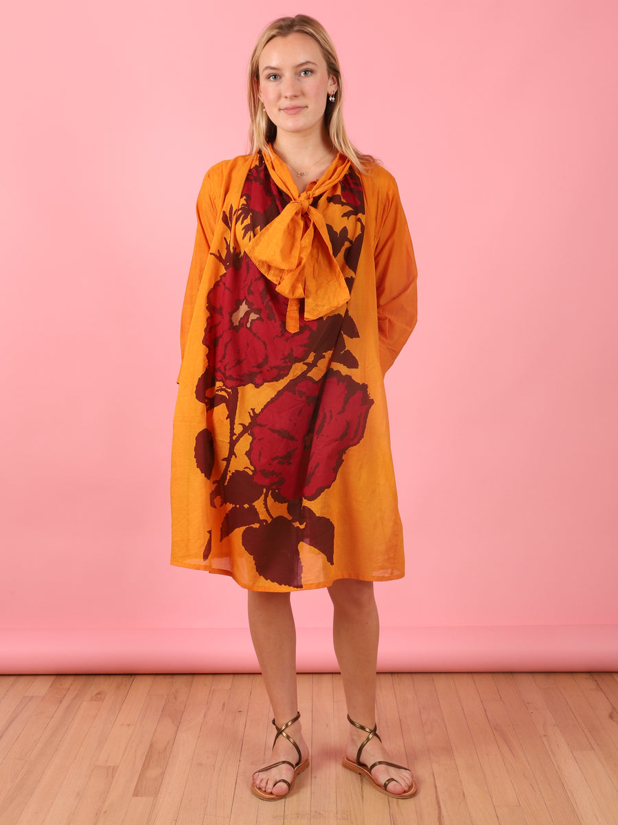 Short To Knee Bow Dress in Orange Rose