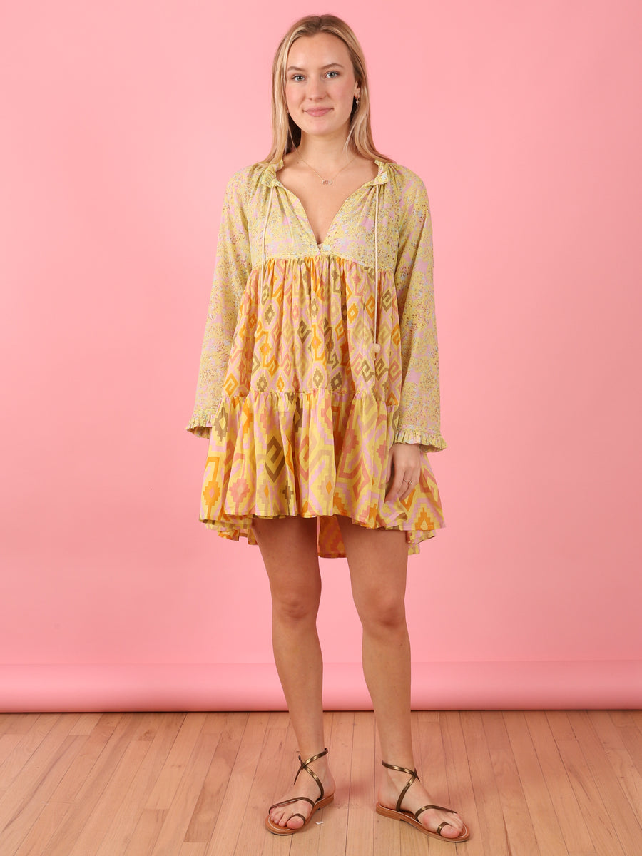 Long Sleeve Mini Hippydress in Lime Print