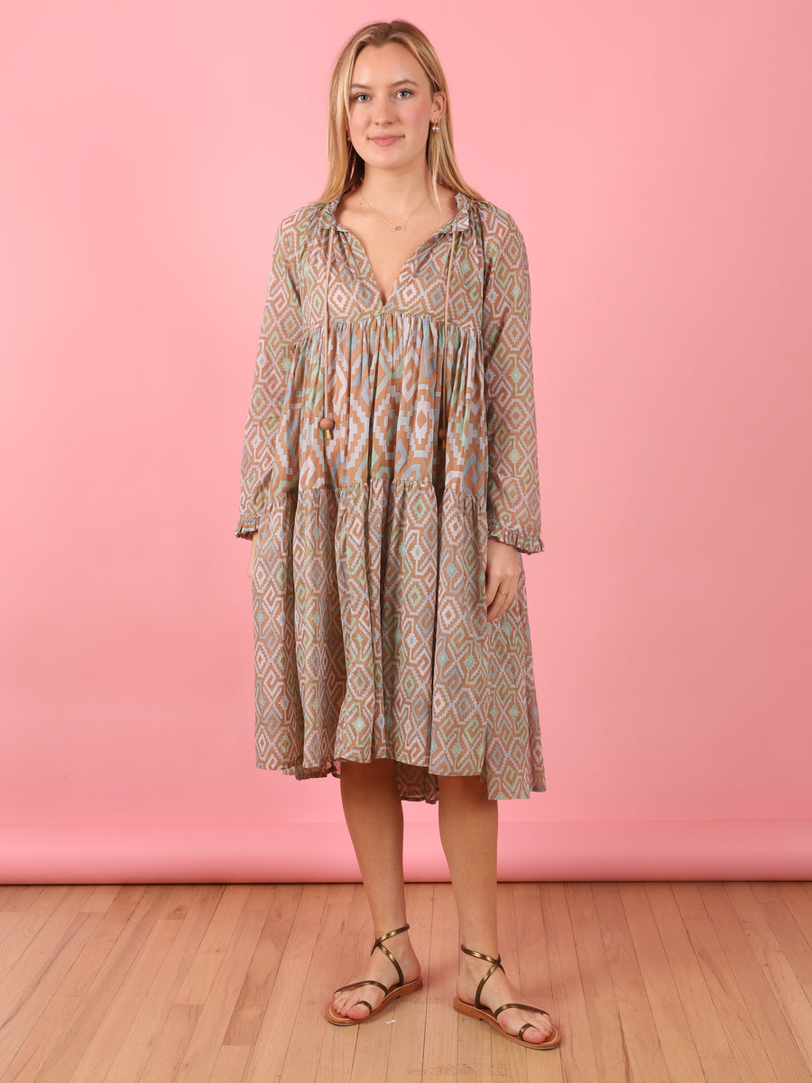 Short To Knee Long Sleeve Dress in Cappucino Diamond Print