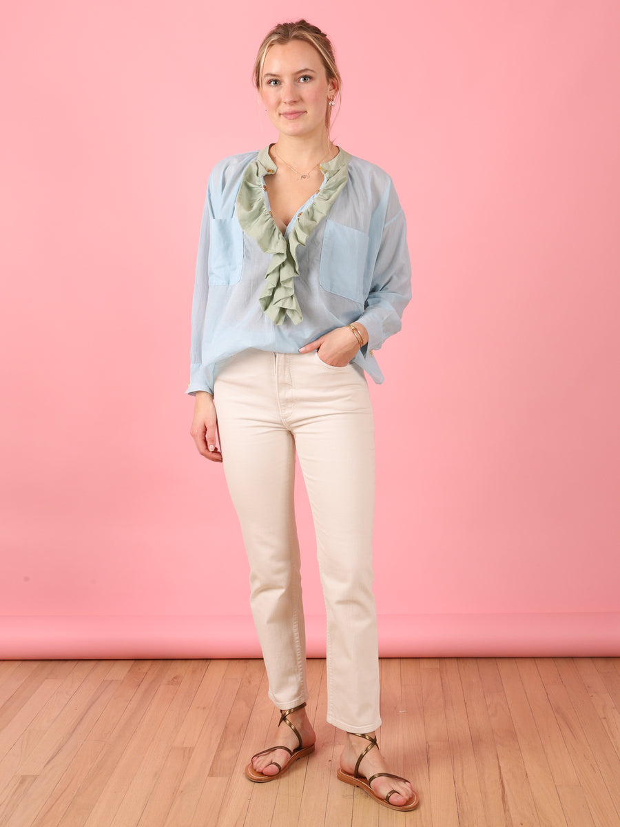 Frill Shirt in Light Blue & Spearmint