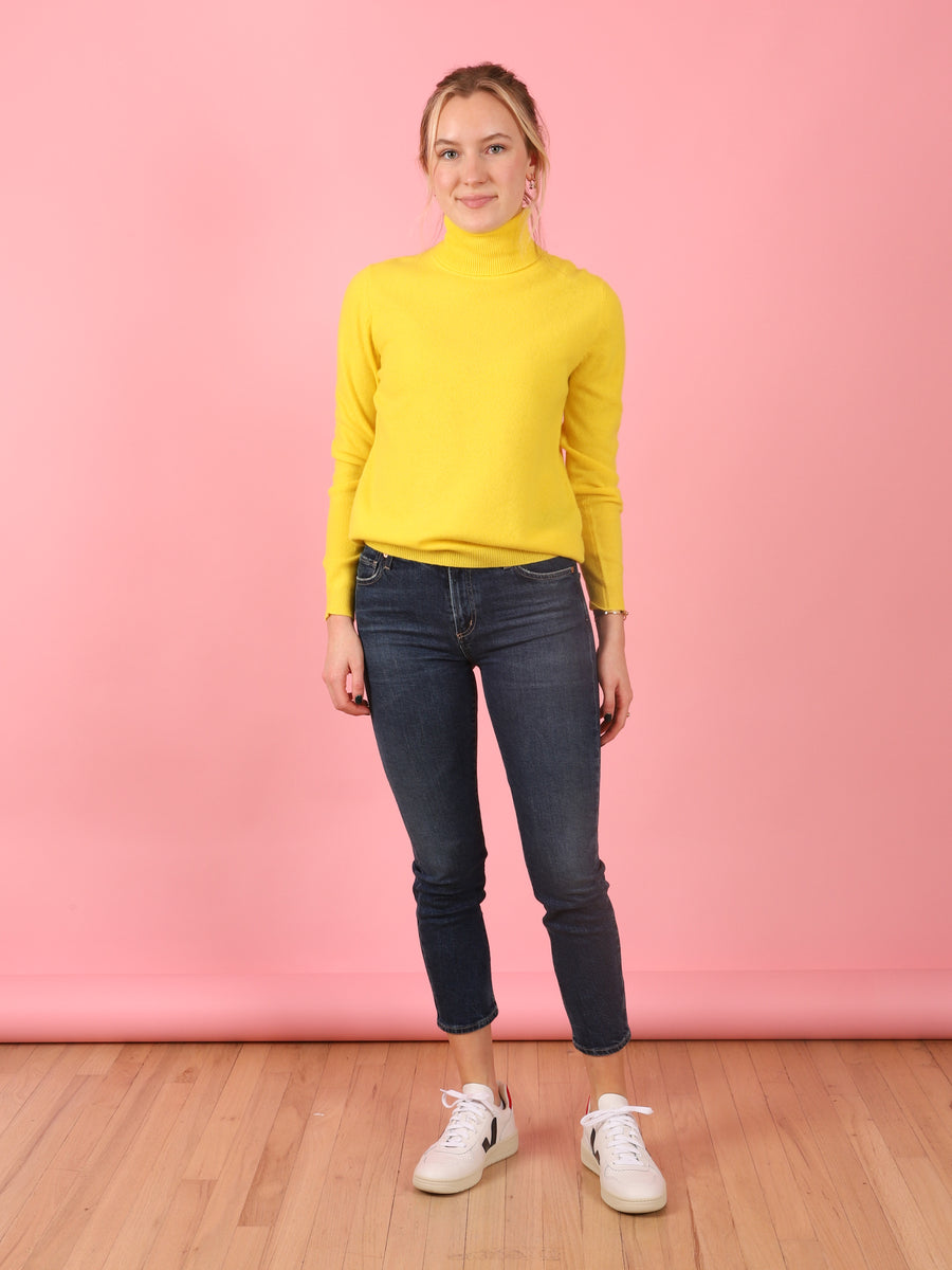 Roll Collar Sweater in Yellow