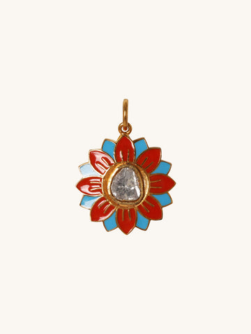 Small Orange & Blue Enamel Flower Pendant